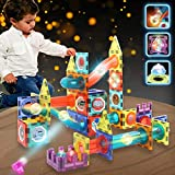 SonneMond 110PCS Magnetic Tiles Building Blocks for Kids, Glowing Marble Run Magnetic Construction Set STEM Toys with Colorful Lights, Super Fun Gifts for Boys Girls Ages 3+