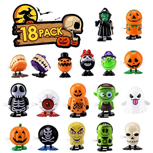 INGREEN Halloween Wind Up Toys, 18PCS Assorted Wind-Up Toys for Kids Party Favors, Happy Halloween Goody Bag Fillers, Preschool Clockwork Toys Supplies for Kids, Boys & Girls