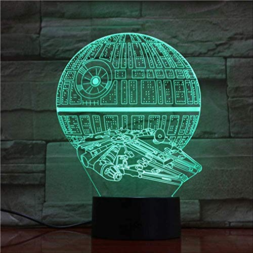 Luz de noche creativa Reloj despertador digital Base Star Wars Patrón 3D 7 Cambio de color Usb y batería Lámpara de mesa de control táctil para decoración del hogar y regalos para niños