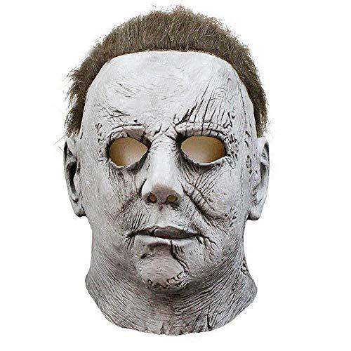 Aosida Michael Myers Disfraz Overol Horror Látex Máscara Cabello Adolescentes Hombres Adultos Cosplay Manga Larga Mezclada Traje Mazarino Grande y Alto