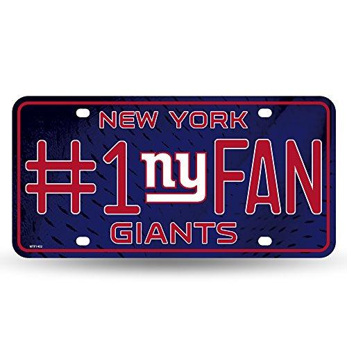 Rico Industries NFL New York Giants #1 Fan Metal Auto Tag