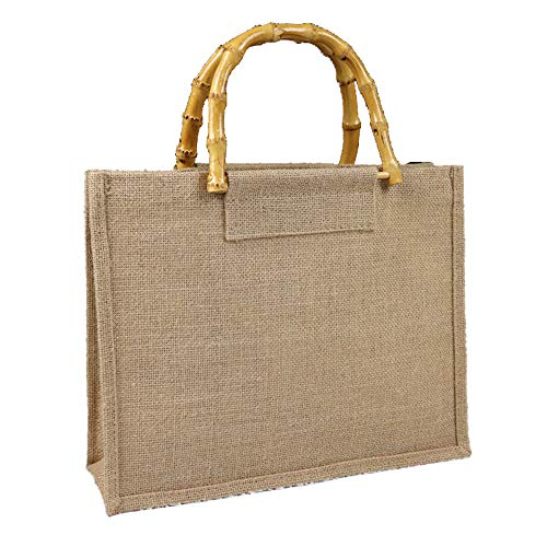 Reusable Burlap Tote Bag Eco-friendly Linen Grocery Bag Waterproof Interior with Natural Bamboo Handles Lager Size Shopping Bag 2 Pack