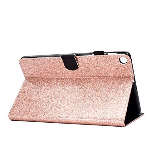 CaseFun Hülle für Samsung Galaxy Tab A7 10.4 2020 T500/T505/T507 Glitzer PU Leder Tasche Hülle Etui Schutzhülle Case Cover Bookstyle Lederhülle mit Standfunktion Rosegold
