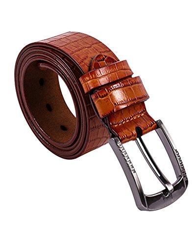 SAMGU Mode Men Belt Crocodile ceinture en cuir de hommes Couleur Jaune