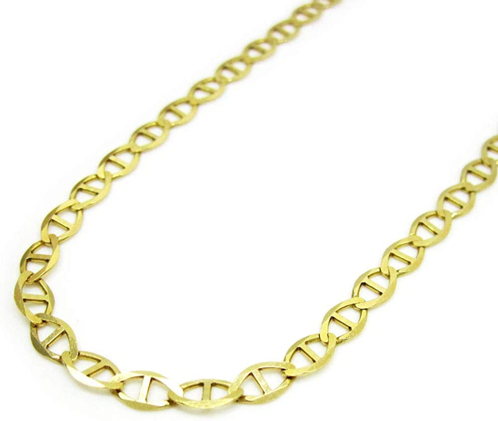 10K Yellow Gold 1mm - 5.5mm Mariner Chain, FREE Microfiber Cloth, Solid Flat Anchor Link Necklace, Giorgio Bergamo