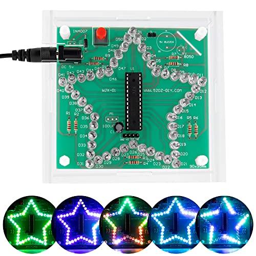Seamuing Kits de Soldadura Electrónica de Bricolaje Proyectos Juego de Práctica de Soldadura LED Placas de Circuito Impreso PCB con Estuche y Cable USB para Principiantes de Soldadura