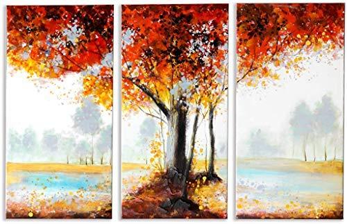 Schilderij -Handgeschilderd op canvas - 3-Luik Autumn Leaves - 90x60 cm - Art Mall