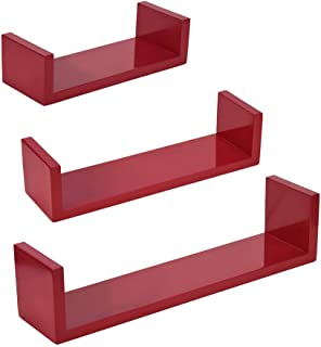 Mostbest 3 Pcs U-Shaped Floating Shelf— Wall Mounted Red Storage Shelves, Decorative Hanging Display Stand for Trophy, Photo Frames, Collectibles, and Much More