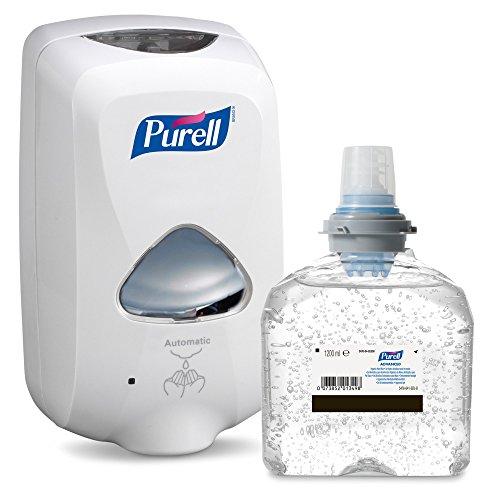Kit Iniziale PURELL TFX – Dispenser Touch-Free per la Disinfezione professionale delle Mani – con 1200ml Ricarica PURELL Advanced Gel Idroalcolico per la Disinfezione delle Mani (Bianco)