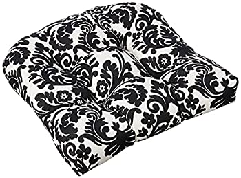 Pillow Perfect Outdoor/Indoor Essence Onyx Tufted Seat Cushions  Round Back  19  x 19  Black 2 Count
