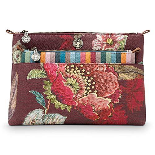 PiP Studio Cosmetic Bag Combi Poppy Stich Burgundy 26x18x7.5cm/22x13x1cm