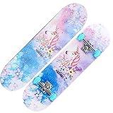 Skateboard Adultos Niños Skateboard, Tabla Completa con rodamientos ABEC-7 9 Capas Layer 80A Maple Deck Skateboarding 4 Ruedas de PU para Principiantes Chicas Niños