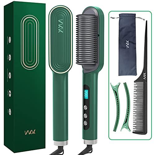 Spazzola Lisciante agli Anioni, VKK Spazzola Lisciante per Capelli aggiornare la cura dei capelli ioni, 25s Riscaldamento Veloce, 9 Temperature Regolabili e Spegnimento Automatico Spazzola Lisciante