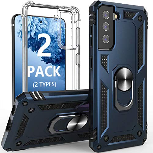 [2 Pack]Profer Compatible with Samsung Galaxy S21 5G 6.2inch Case Clear With Stand Kickstand Ring Magnetic Slim Heavy Duty Defender Armor Military Grade Silicone Phone Cover for Samsung S21 Case Blue
