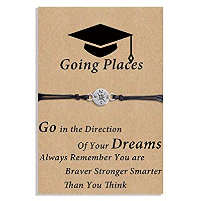 DESIMTION Graduation GIfts for Her 2021 Compass Bracelet Seniors College High School Graduate Gifts for Daughter Sister