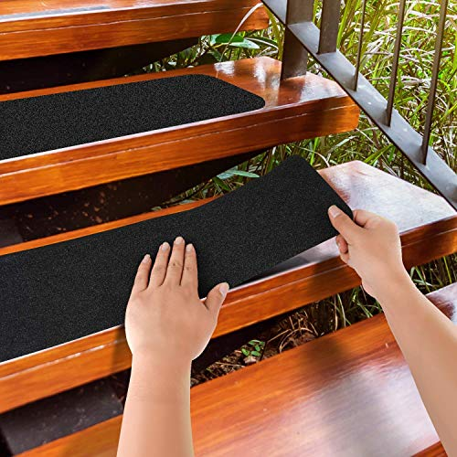 """MBIGM 12-Pack 8"""" X 30"""" Pre-Cut Stair Treads 80 Grit Non-Slip Outdoor Grip Tape Black Heavy Duty Anti Slip Traction Adhesive Strips for Staircase, Skateboard, Deck"""
