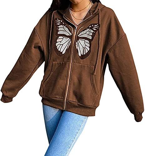 Tekaopuer Sudadera con capucha y cremallera para mujer, Y2K, con capucha, estilo vintage, gran tamaño, para adolescentes, Marrón - Mariposa, L