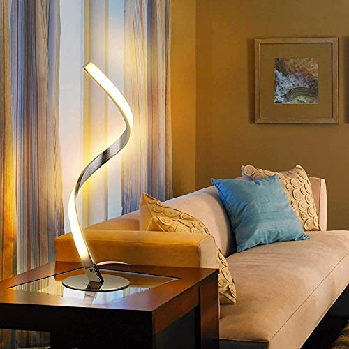 KHDJ Lámpara de Mesa Lámpara de Mesa de Dormitorio LED Regulable, lámpara de Escritorio en Espiral de 12 W con Interruptor de Control táctil Luz de Lectura Interior del Escritorio Lámpara de cabecera