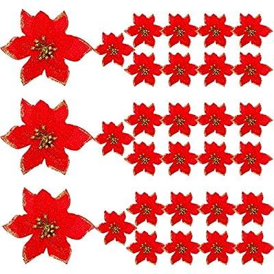 WILLBOND 30 Pieces Glitter Christmas Tree Ornaments Artificial Wedding Christmas Poinsettia Flowers for Christmas Flowers Tree Wreaths Decor Ornament
