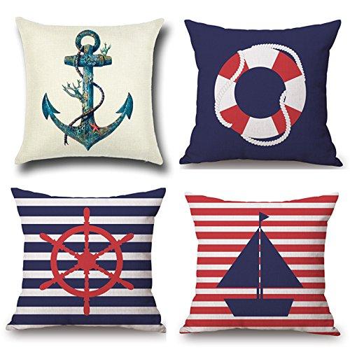 Funda de almohada náutica azul marino, paquete de 4 Fundas de cojín cuadrado de lino de algodón de 18x18 pulgadas con cremallera Funda de almohada para el sofá del dormitorio, 45x45cm