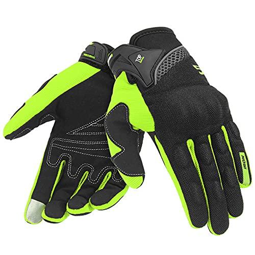 Guantes de Motocicleta para Hombre, Guantes de Carreras de Gant para Motocicleta, Guantes de Motocross, Guantes de Verano Transpirables para Motocicleta, Guantes de Dedo Completo-Green Gloves-3-XL