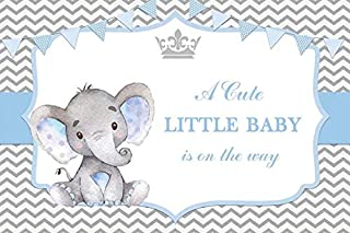 Baocicco 7x5ft Baby Shower Backdrop for Boys A Cute Little Baby is On The Way Cute Blue Little Elephant Banners Crown Photography Background Welcome Newborn Party Baptism Party Baby Photo Booth