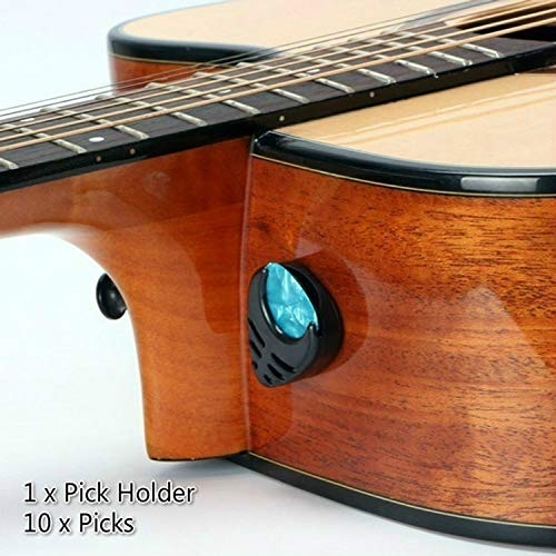 Gitarre Plektrum & Plektrenhalter Gitarren Plektren Stick-on Holder + 10 Pcs Guitar Picks (Black Holder)