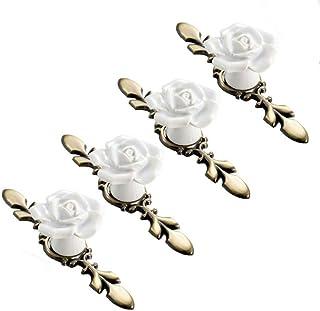 SCTD Rose Ceramic Flower Cabinet Knobs with Bronze Backplate, Vintage Kitchen Drawer Pull Handles for Dresser Cupboard War...