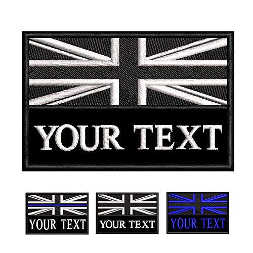 Custom Tactical Military Name Patch, Personalized Embroidery Number tag, British Flag Fastener Hook & Loop Name Patch for Multiple Clothing Bags Vest Jackets Work Shirts (White)