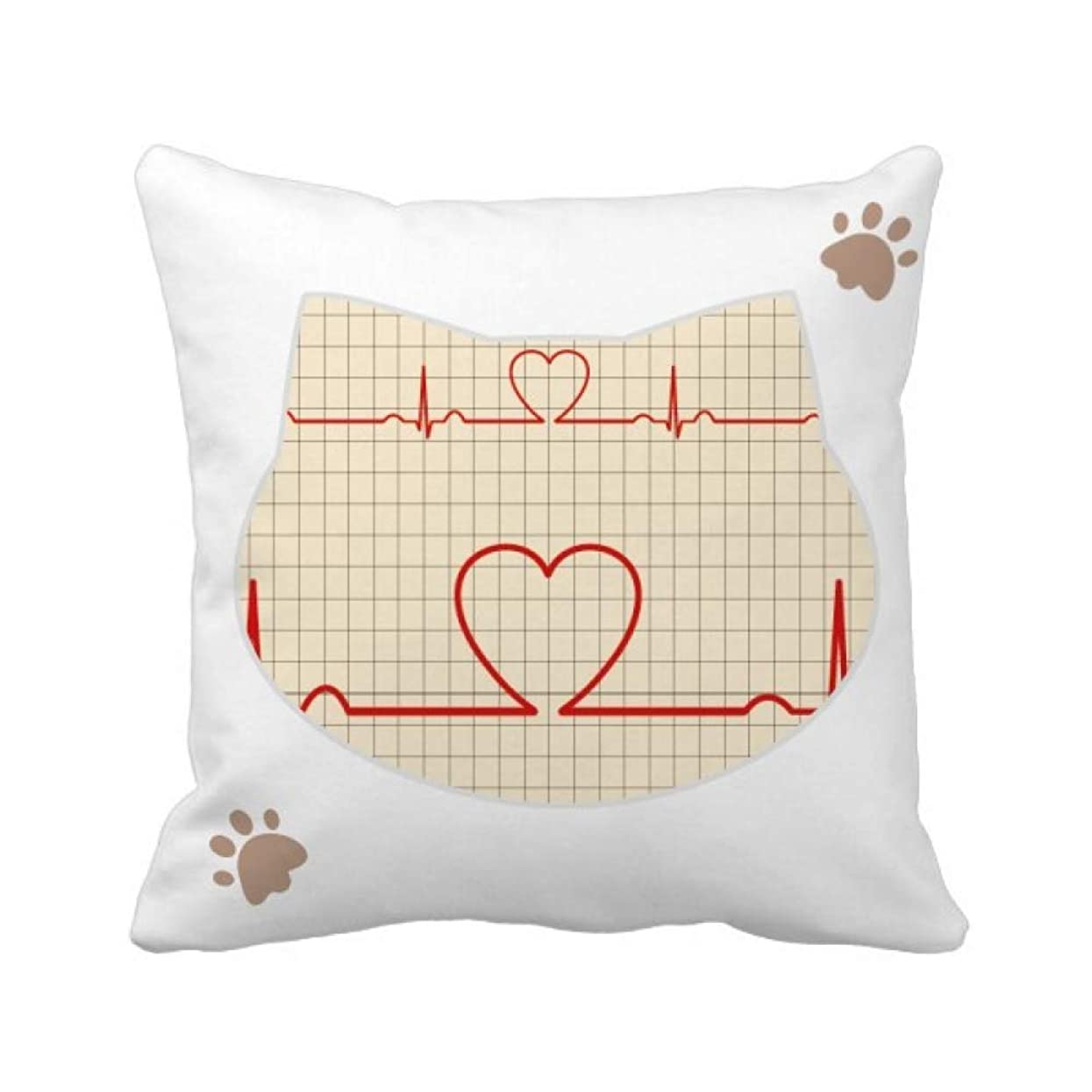 小石流産ジョグ心電図の心の創造的なデザインパターン 枕カバーを放り投げる猫広場 50cm x 50cm