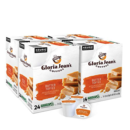 Gloria Jean's Coffee Butter Toffee, Single Serve K-Cup Pod, Flavored Coffee