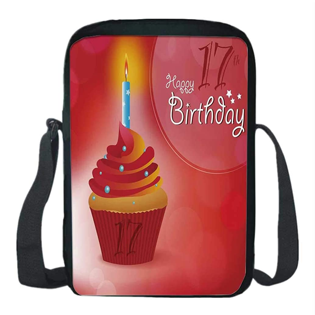 17th Birthday Decorations Print Kids Crossbody Messenger Bag,Sweet Seventeen Party Theme with Cupcake and Candle Image for Boys,9''H x 6''L x 2''W