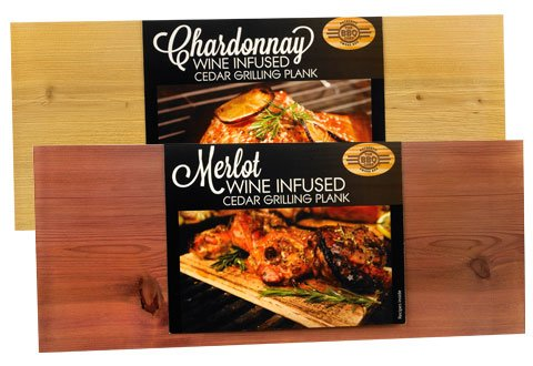 The BBQ Chef Wine Infused Cedar Grilling Plank Mix Pack of 2 1x Chardonnay and 1x Merlot, Pack of 2