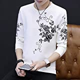 T Shirts Manga Larga,Rose Imprimir Hombres Casual Muelle Destensado Cuello Redondo Jersey Blanco,Deportes Camiseta Slim Quick-Drying Estirar Negocios Ropa Transpirable Tejido Sweater Workwear Chaleco