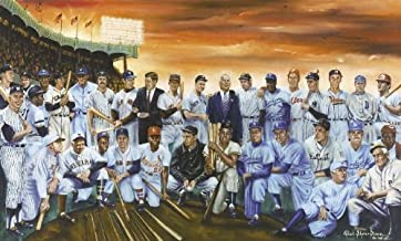Boys of Summer Featuring Baseball Legends & 2 Presidents Lithograph