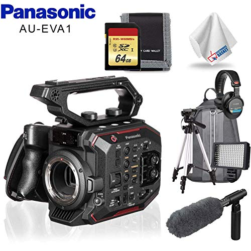 Learn More About Panasonic AU-EVA1 Compact 5.7K Super 35mm Cinema Camera, Condenser Mic, Headphones,...