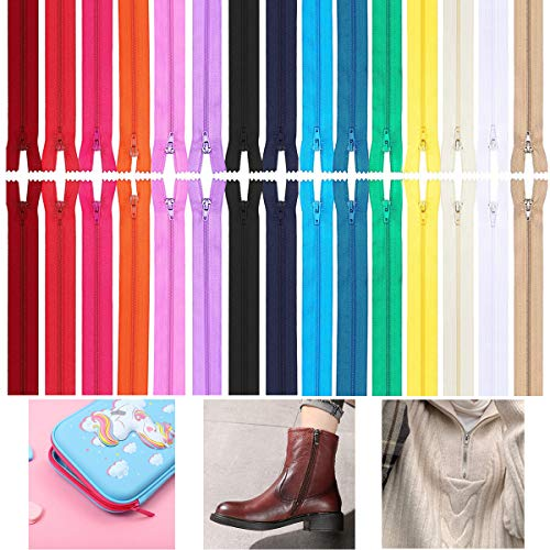 60 Pcs Fermetures Éclair Multicolore, Fermeture à Glissière En Nylon Couture Assorties 20cm & 30cm, 15 Couleurs en Nylon Fermetures à Glissière en Bobine Coloré pour la Couture Artisanat