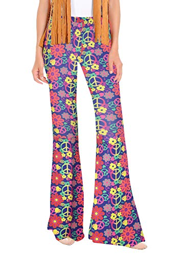 Womens Groovy Hippie Adult Halloween Costume Bottom Pants Floral Rainbow L