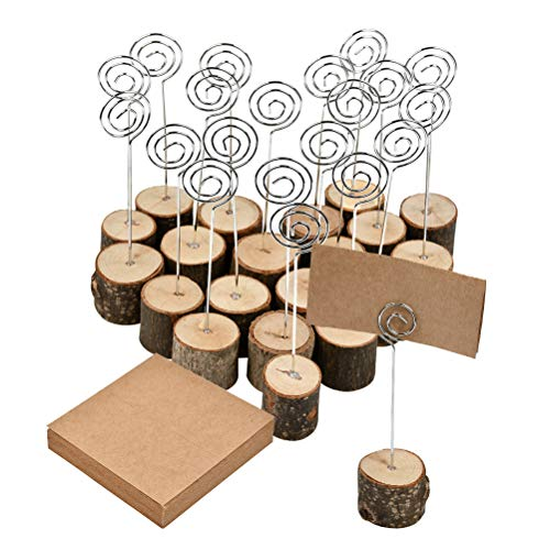 WOWOSS 20 Pcs Rustic Wood Place Card Holders with Swirl Wire, 6 inch Wooden Base Table Number Photo Memo Picture Note Clip Holders and 50 Pcs Kraft Place Cards Bulk for Wedding Table Name Number Sign