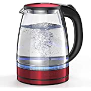 HadinEEon Electric Kettle 1.7L Glass Electric Tea Kettle (BPA Free) Cordless Teapot, Portable Electric Hot Water Kettle with Auto Shutoff Protection, Stainless Steel Lid & Bottom- Red