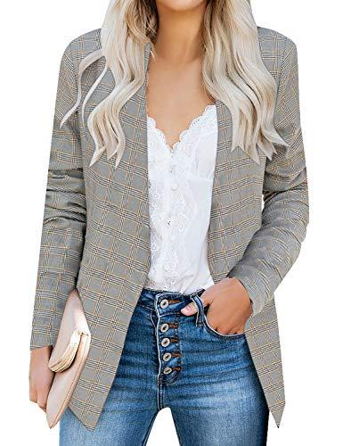 luvamia Women's Open Front Pocket Long Sleeve Work Office Blazer Jacket O Plaid Size X-Large (Fits US 16-18) Yellow