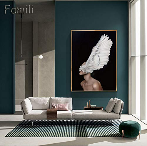 Moderne engel voor meisjes, Scandinavisch, zwart en wit, canvas, kunstdruk, wandschildering, meisjes, abstract, afbeelding, slaapkamer, woonkamer, wand, art50 x 70 cm