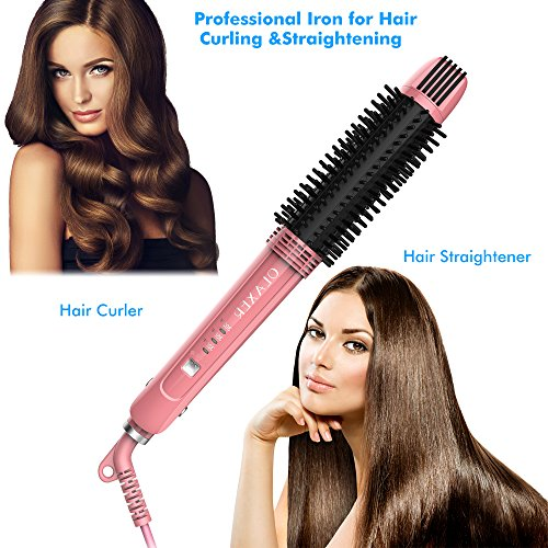 OLAXER 3in1 Ceramic Hair Straightener Hot Brush amp Curling Iron – with Ionic Technology amp 360° Swivel Cord PinkBlack