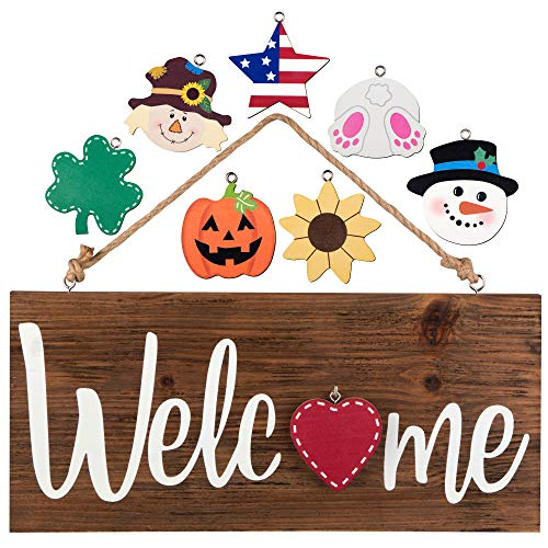 North Bird Interchangeable Welcome Sign for Front Door - Holiday Home Decor Sign With 8 Changeable...