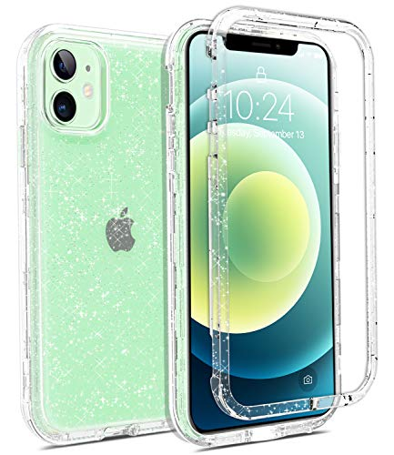 Coolwee Crystal Glitter Full Protective Case Compatible with iPhone 12, Compatible with iPhone 12 Pro Heavy Duty Hybrid 3 in 1 Rugged Shockproof Women Girls Transparent Shiny Clear Bling Sparkle