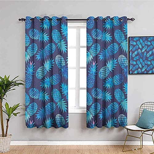 LucaSng Blackout Curtain Thermal Insulated - Blue creative pineapple art - 72x63 inch for Bedroom Kitchen Living Room Boy Girl Window - 3D Digital Printing Eyelet Ring Curtain