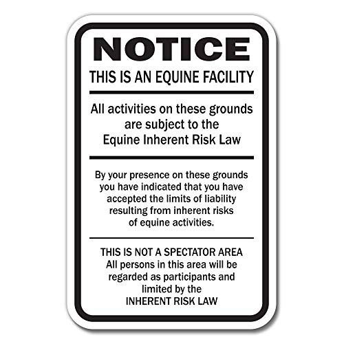 "Supplemental Equine Liability Sign warning statute horse barn stable farm signs, 10"" X 14"" Aluminum"