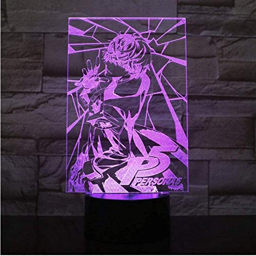 Abbildung USB 3D LED Nachtlicht Dekoration Junge Kind Kinder Baby Geschenke Japanisches Rollenspiel P5 Persona 5 Tischlampe Nachttisch