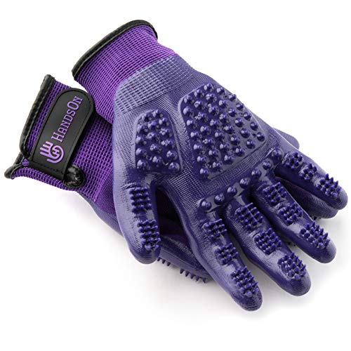 H HANDSON Pet Grooming Gloves - #1 Ranked, Award Winning Shedding, Bathing, Hair Remover Gloves for Cats, Dogs, and Horses (Mono-Purple, Small) (035120)