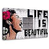 Druck auf leinwand Banksy Graffiti - Bild Life is Beautiful